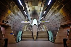 Plutonium (Douguerreotype) Tags: uk gb britain british england london underground tube metro subway tunnel stairs steps symmetry sign scifi futuristic architecture city urban transport