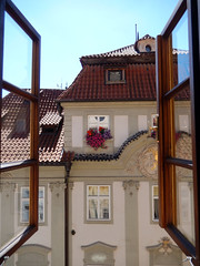 Windows seen from a window in Prague, 2016 Aug 27 (Dunnock_D) Tags: czechia czechrepublic prague blue sky nerudova vegansprague restaurant roof rooftop window windows malástrana lessertown