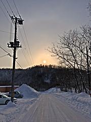 Over the Hill (sjrankin) Tags: 29january2017 edited sunset yubari hokkaido japan snow hdr