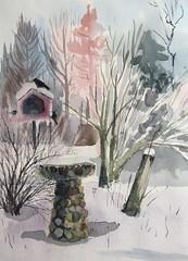 Deb's Birds (Handwork Naturals) Tags: 2017 dailypainting painting landscape newyork snow birdfeeder birds winter watercolor dormantfloweringquince quince dormant edenscovillehart