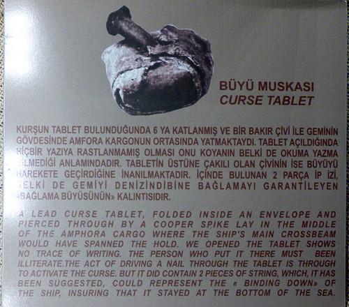 Girne - castle Roman shipwreck lead curse tablet info board