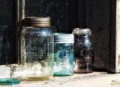coloured glass (s@ssyl@ssy) Tags: old glass bottles antique crown coloured jars hss sliderssunday