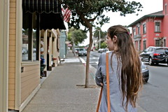 Raw Emotion (Tabbiebrown) Tags: street city color girl beautiful beauty shopping walking town photo monterey colorful serious pacificgrove tabithabrown