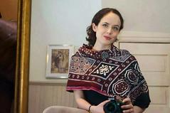 Ajrak wearing American (GlobalCitizen2011) Tags: women dress embroidery crafts clothes shawl sind sindh sindhi ajrak sindhiclothing
