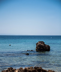 Sea (E.Demiray) Tags: travel blue sea sky sun seascape beach aquarium rocks cove bozcaada anakkale