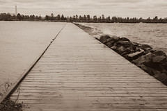 Power (Cindy's Here) Tags: ontario canada monochrome sepia vanishingpoint dock splash lakesuperior challenge fortwilliam ansh