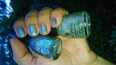 rtemis (Hits) + Fairy Dust (ChG) + Extasy (Jade) (Raabh Aquino) Tags: glitter silver nails cinza unhas holographic prata esmalte hologrfico