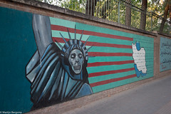Former American embassy, Tehran, Iran (Martijn Bergsma) Tags: new york city travel usa ny monument statue architecture america liberty iran united landmark embassy states statueofliberty tehran khomeini