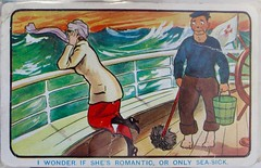 """I wonder if she's romantic, or only sea-sick."" (Piedmont Fossil) Tags: newzealand woman lady bucket ship postcard humor sailor mop napier seasick swabbie"