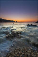 waves (El color del cristal) Tags: light sunset costa luz atardecer waves asturias cielo olas rocas sedas playadelsilencio