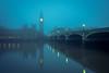 Big Ben in the fog (semitune) Tags: big ben london bridge fog morning dawn parliament house reflection sunrise river water