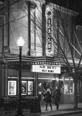 The Miracle B&W (Geoff Livingston) Tags: miracle theatre dc washington monochrome couple walking night 2017 willywonka movie