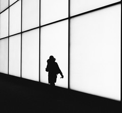 Take me to Neverland (Ricvrdo.G) Tags: black white monochrome toronto street photography woman people frame framing shadows silhouette leading lines urban canada downtown city light lights