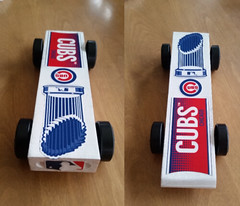 Our Cubs themed pinewood derby car (happily Evan after) Tags: chicago cubs theme stickers pinewood derby car world series champion trophy logo cub scouts 2017 baseball mlb