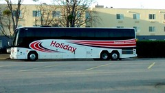 Holiday Bus. (dccradio) Tags: nc northcarolina robesoncounty crackerbarrel restaurant fairfieldinn fairfieldlumberton holiday tourbus charterbus travel bus parked parkinglot coach vehicle transportation pavement paved hotel motel lodging lumberton tree trees building