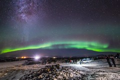 Northern Lights Hunting, Iceland 2016 (Tim Bow Photography) Tags: timbowphotography timboss81 welsh british aurora iceland auroraborealis northernlightshuntingiceland milkyway milkywayandthenorthernlights nighscapesoficeland landscapesatnight icelandatnight travelphotography cold winter 2016 viewingthenorthernlights borgernas snow snowylandscape light white dark people observing observation