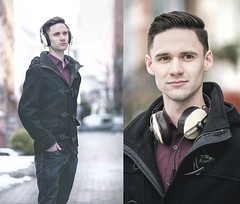 Sennheisers (MecCanon [Insta: JLPhotoOfficial]) Tags: sennheiser headphones casque casco music portrait city albany new york male retrato ritratti winter outdoor peacoat canon 6d 70200 f4l is natural light