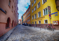 Back Street in Nuremberg, Germany (` Toshio ') Tags: toshio europe nuremberg germany german european europeanunion street city gallery bicycle cobblestone fujixe2 xe2