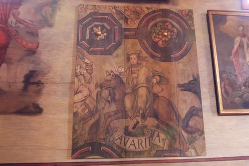 Personifikacja skąpstwa (AVARITIA) z dekoracji stropu w kościele w Boguszycach