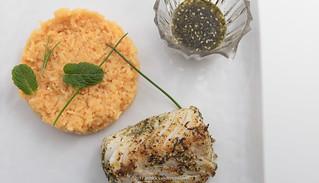 Za'atar-wu-zayt codfish and turmeric basmati rice.
