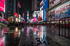 Times Square Reflections (20170114-DSC01603) (Michael.Lee.Pics.NYC) Tags: newyork timessquare night reflection rain snow wet winter puddles advertising videodislays sony a7rm2 fe1635mmf4