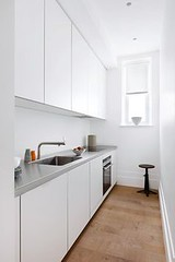 A small narrow kitch (seewhatyoumean) Tags: a small narrow kitchen with white units stainless steel worktop sink from bulthaup design ideas cabinets taps cupboards sinks lighting wallpaper house garden