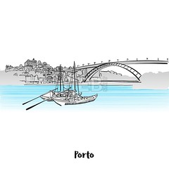 Porto Skyline Greeting Card Design (Hebstreits) Tags: architecture art background beautiful black building card city cityscape color design downtown drawing drawn europe gray grunge hand illustration isolated landmark landmarks landscape metropolis old oporto outline panorama panoramic porto portugal poster print red sea silhouette skyline symbol tower travel typographic urban vector vintage water white