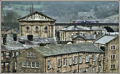 Roof Runner (david.hayes77) Tags: todmorden westyorkshire yorkshire calderdale caldervalley dmu class142 2f89 2017 townhall johngibson buildings northern train roofrunner