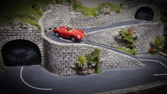 Thrills On The Hairpin Bends. (ManOfYorkshire) Tags: diorama diecast cararama porsche spyder spider 550a red hairpin bends mountain roads thrill seeker 2wheels fast speed 176 scale model oogauge