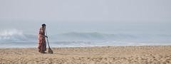 Jobs in India (Wanda Amos@Old Bar) Tags: india work jobs employment beach waves sweeping cleaning woman broom
