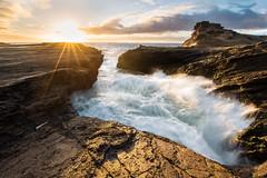 Motion at Lanai Lookout (rcrhee) Tags: oahu hawaii lanai lookout landscape sunrise sky waves crashing sunlight morning clouds lava rocks surf vibrant north shore northshore photograph photo photography nikon d810 1424 f28 f28g nikkor