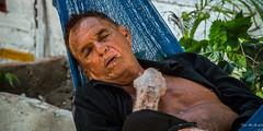 2016 - Mexico - Zihuatanejo - Siesta (Ted's photos - Returns 23 Jun) Tags: 2016 cropped mexico nikon nikond750 nikonfx tedmcgrath tedsphotosmexico vignetting zihuatanejo barradepotosi hammock siesta sleeping bokeh eyes ears lips face people candid