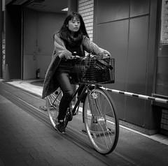 No hands! (Bill Morgan) Tags: fujifilm fuji x100f bw jpeg street girl bike mitaka tokyo