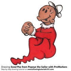 Swee'Pea from Popeye the Sailor with ProMarkers (drawingtutorials101.com) Tags: sweepea popeye sailor cartoons tv animated e c segar promarker promarkers markers marker alcohol color coloring draw drawing drawings timelapse video speeddrawing how sketch
