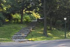 Secret Passage (lefeber) Tags: road trees light newyork stairs rural forest fence campus woods streetlight streetlamp masonry steps stonewall rockwall westpoint eveninglight wpma cannonball hudsonvalley