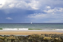 104. St Combs Beach (GraynKirst) Tags: sea sky cloud seascape beach water sunshine rock clouds landscape coast scotland boat seaside sand scenery rocks warm aberdeenshire yacht shoreline shore northsea coastline sailingboat stcombs kirstyjarman
