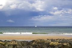 104. St Combs Beach (GraynKirst) Tags: sea sky cloud seascape beach water sunshine rock clouds landscape coast scotland boat seaside sand scenery rocks warm aberdeenshire yacht shoreline shore northsea coastline sailingboat stcombs kirstyjarman