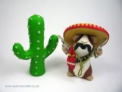 Mexican Guinea Pig (QuernusCrafts) Tags: cactus cute mexico guineapig gun mexican polymerclay blanket sombrero serape quernuscrafts