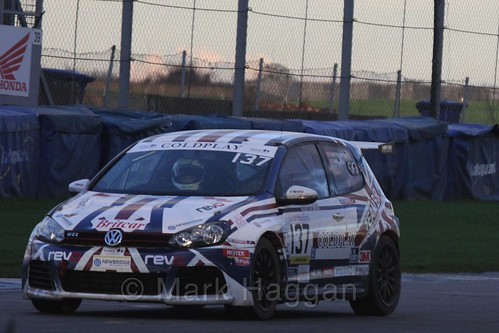 The VW Golf MK6 of Martyn Compton and Mark Allen in Endurance Racing during the BRSCC Winter Raceday, Donington, 7th November 2015