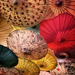 Floating Parasols (Robert_Brown [bracketed]) Tags: street food oregon out square portland asian cuisine japanese restaurant photo whimsy decorative ceiling ramen photograph parasol alberta boxer noodles dining hungry umbrellas robertbrown instagram