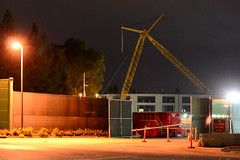 Cranes in the Dark, Campus 2 (Ian E. Abbott) Tags: apple construction nightshot crane cranes sanfranciscobayarea bayarea cupertino siliconvalley sfbayarea constructioncranes constructionsite afterdark applecomputer applespaceship applecampus2 applecampustwo