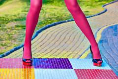 Fashion womens legs, heels (prolisafoto) Tags: people urban woman sexy girl fashion magazine square shoes shiny pattern legs outdoor geometry mosaic surrealism creative vivid trendy heels abstraction unusual copyspace elegant multicolored pantyhose luxury glamor stylish caucasian