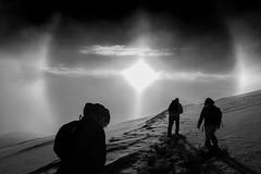 "The ""sun dogs"" (Michele Massetani) Tags: parelio sun dogs parhelion sibillini montagna mountain effetto ottico italy bianco e nero black white noiretblanc"