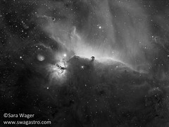 IC434 Horsehead and Flame nebula in mono (Sara Wager (www.swagastro.com)) Tags: ic434 horsehead b33 barnard33 alnitak flamenebula ngc2024 sh2277 astrophotography astro astronomy astrodon astronomia astrology cosmos cosmology colours constellation deep space sky dso emission nebula hydrogen alpha interstellar nebulosity nebulae orion optics universe stars skies telescope takahashi fsq85 qsi683 kaf8300 mesu 200 swagastro sara wager wwwswagastrocom outdoor sarawager takahashifsq85