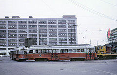 MBTA 3239 and 3018 on the Lechmere Loop, Cambridge, MA on August 17, 1970 (railfan 44) Tags: masstransit publictransit transit streetcars streetcar