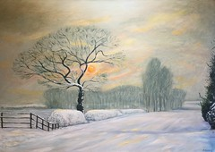 Winter Sunset (dick-adams) Tags: landscape oil painting northamptonshire sunset snow