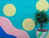 Happy New Years to All My Flickr Friends (Grazerin/Dorli B.) Tags: happynewyear mural minimalism detail street abbotkinneyblvd venice california elements circle plant tree colorful