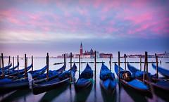 Venice Gondolas at Dawn (BOCP) Tags: gondolas sangiorgiomaggiore church campanile belltower water dawn morning venice venezia veneto italy italia urbanlandscape architecture cityscape city pinkclouds travel wideangle
