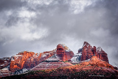 Frosted Reds (TreeRose Photography) Tags: sedona red cloudy stormy snow white rocks geology formations texture arizona southwest cold frozen