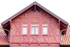 Half-timbered Zwerchhaus (special kind of dormer) (:Linda:) Tags: germany thuringia town hildburghausen brick gable three window halftimbered andreaskreuz zwerchhaus